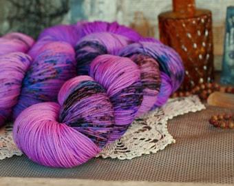 Magic Elixir 434 yards/ Titanium Sock Yarn/ superwash merino 4 ply speckle dyed, domestic spun!