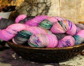 Gnome Party 434 yards/ Titanium Sock Yarn/ superwash merino 4 ply speckle dyed, domestic spun!