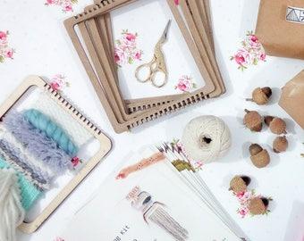 Weaving loom kit for hand weaving wall art