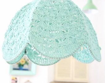 Crochet Lampshade - light blue