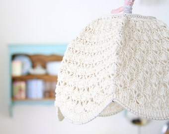 Crochet Lamp Shade - Cream