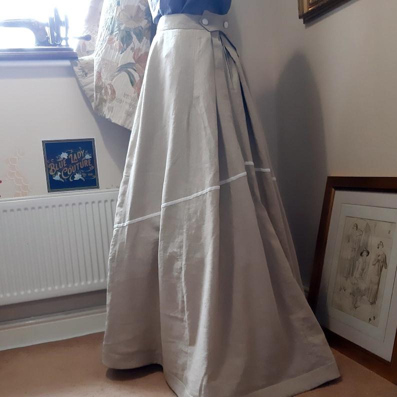 Edwardian Skirts History – 1900 – 1910s Edwardian Walking Skirt EMMELINE SKIRT Long Linen Skirt Edwardian Costume $159.00 AT vintagedancer.com