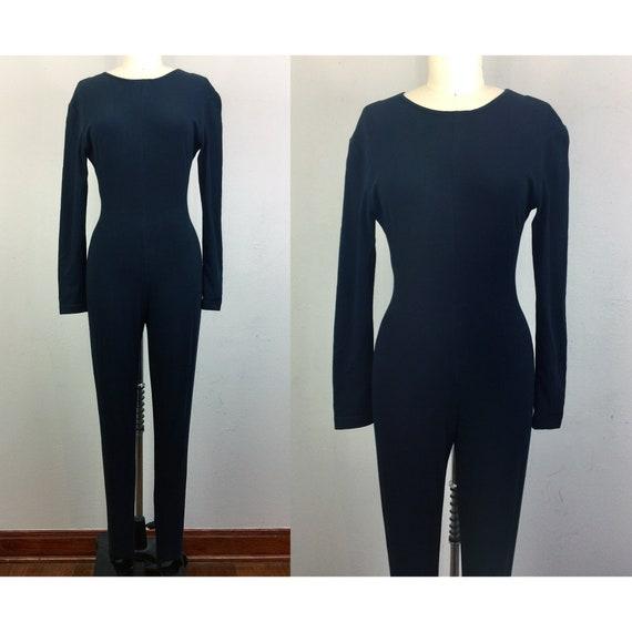 Vintage 80s Black Jumpsuit Stirrup Catsuit Unitard