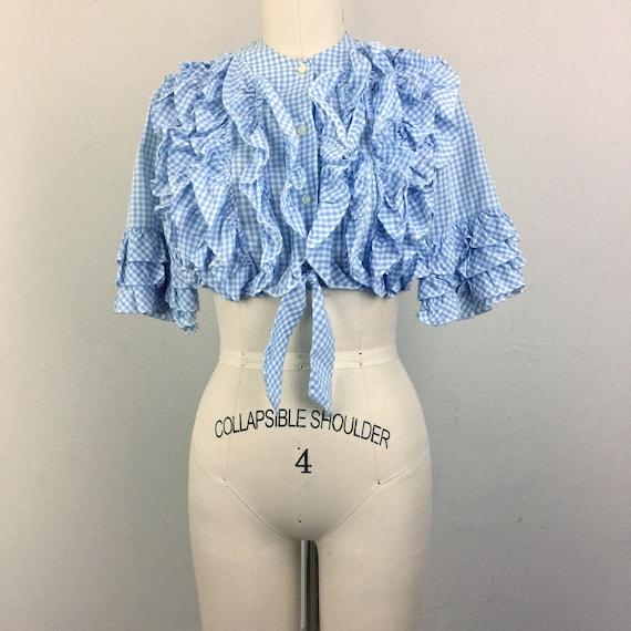 Vintage 60s Cropped Blouse TUXEDO RUFFLE Blue Ging