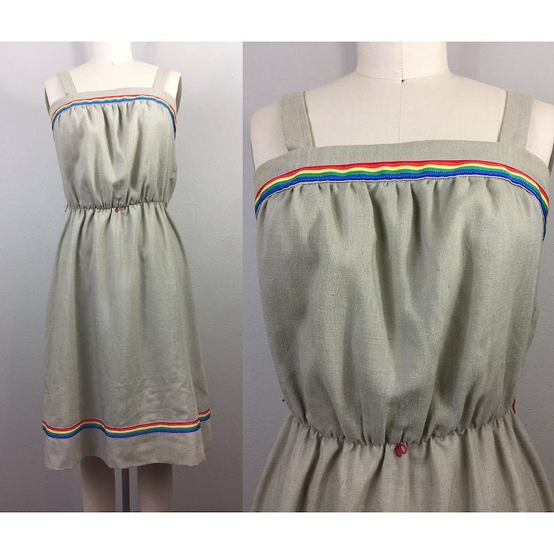 79801a61f20 Vintage 70s 80s Tan RAINBOW Sundress Disco Dress 1970s 1980s