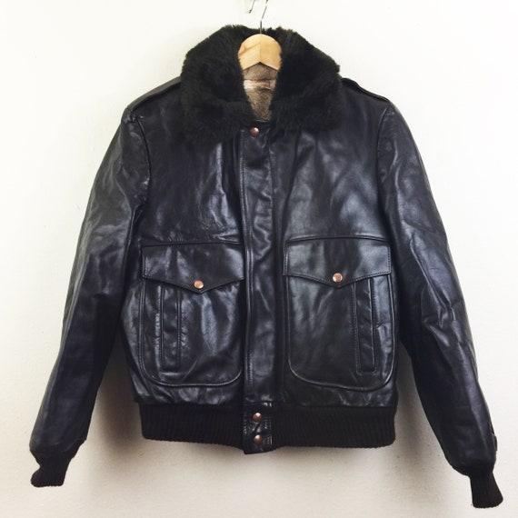 Vintage 80s Brooks Brothers Brown Leather Bomber J