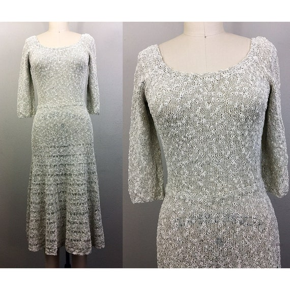 Vintage 1940s Silver Knit Dress Metallic 40s S