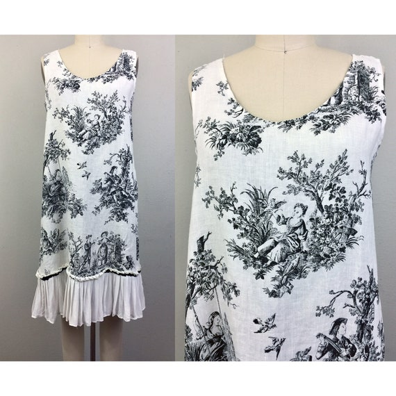 Vintage 90s Linen Toile Dress Black and White w/ R