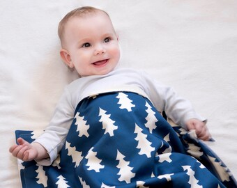 Baby BLANKET in Organic Cotton- Blue and White Trees, Modern Baby Blanket, Eco Friendly