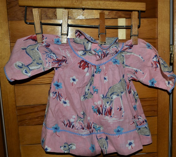 1940's Pink Baby Dress with Kitschy Deer & Buttons
