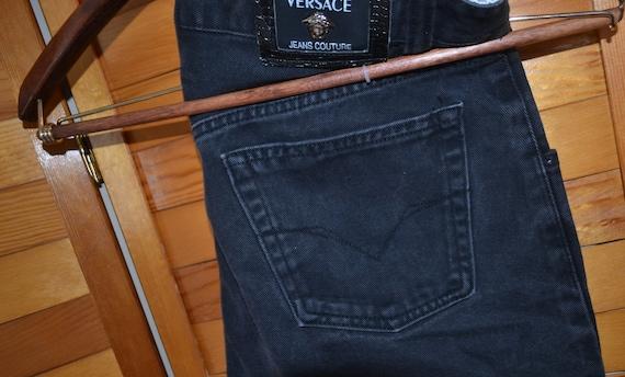 Versace Couture Black Denim Pants 1990's - image 3
