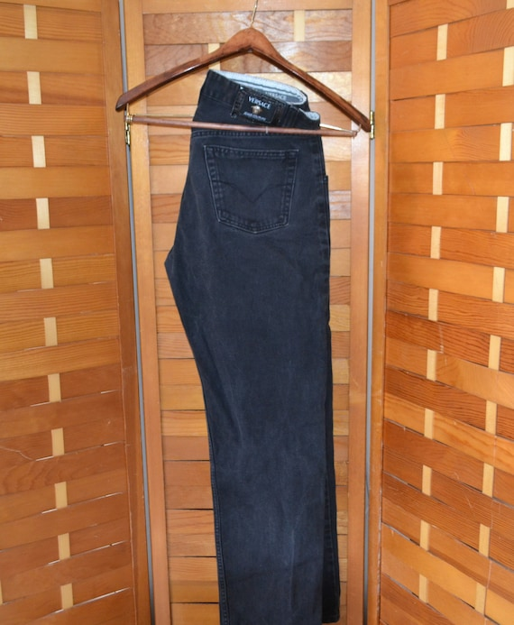Versace Couture Black Denim Pants 1990's