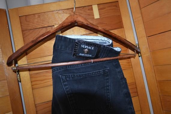 Versace Couture Black Denim Pants 1990's - image 2