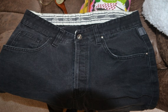 Versace Couture Black Denim Pants 1990's - image 4