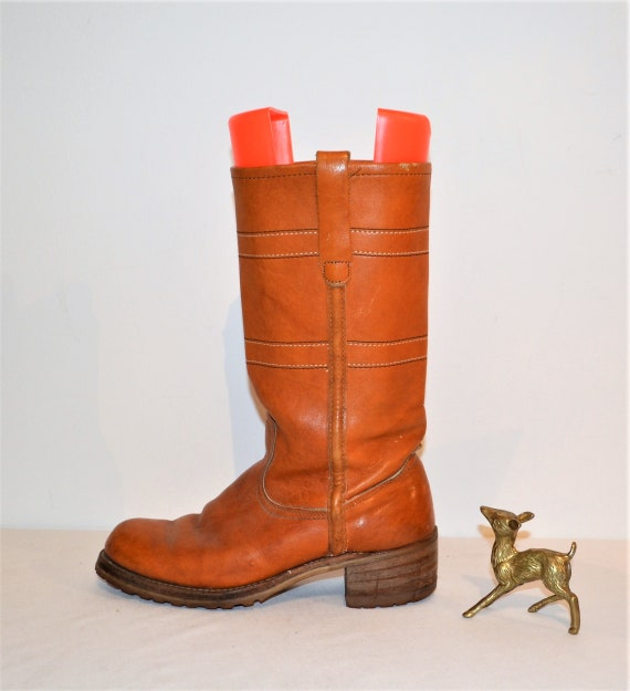 Vintage Boots Cognac Leather Tall 1970's