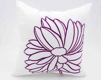 purple flower pillow etsy
