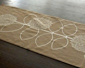 Brown  and Off White Modern Sunflower Embroidery Table Runner