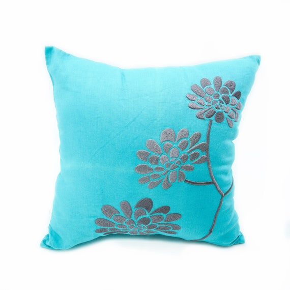 Teal Flower Embroidered Throw Pillow Cover Modern Apartment Etsy