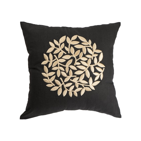 Black Linen Embroidered Pillow Case Modern Floral Throw Etsy