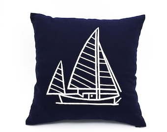 Throw pillow covers, Nautical pillows,navy pillow cover, Sailboat decor, nautical embroidery, coastal fabric,beach house decor, blue cushion