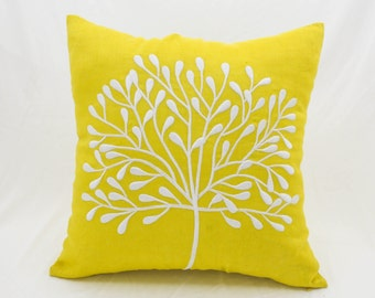 Yellow Tree Pillow Cover, Tree Throw Pillow, Yellow Linen White Tree Embroidery, Floral Couch Pillow, Yellow White Pillow Case, HomeDecor