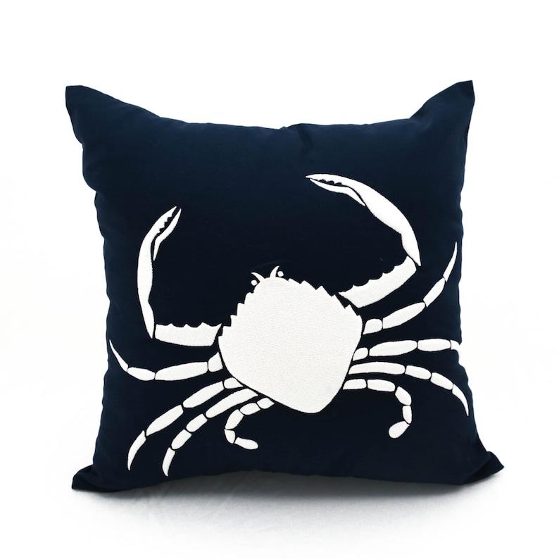 Crab Pillow Case Navy Throw Pillow Nautical Decor image 0