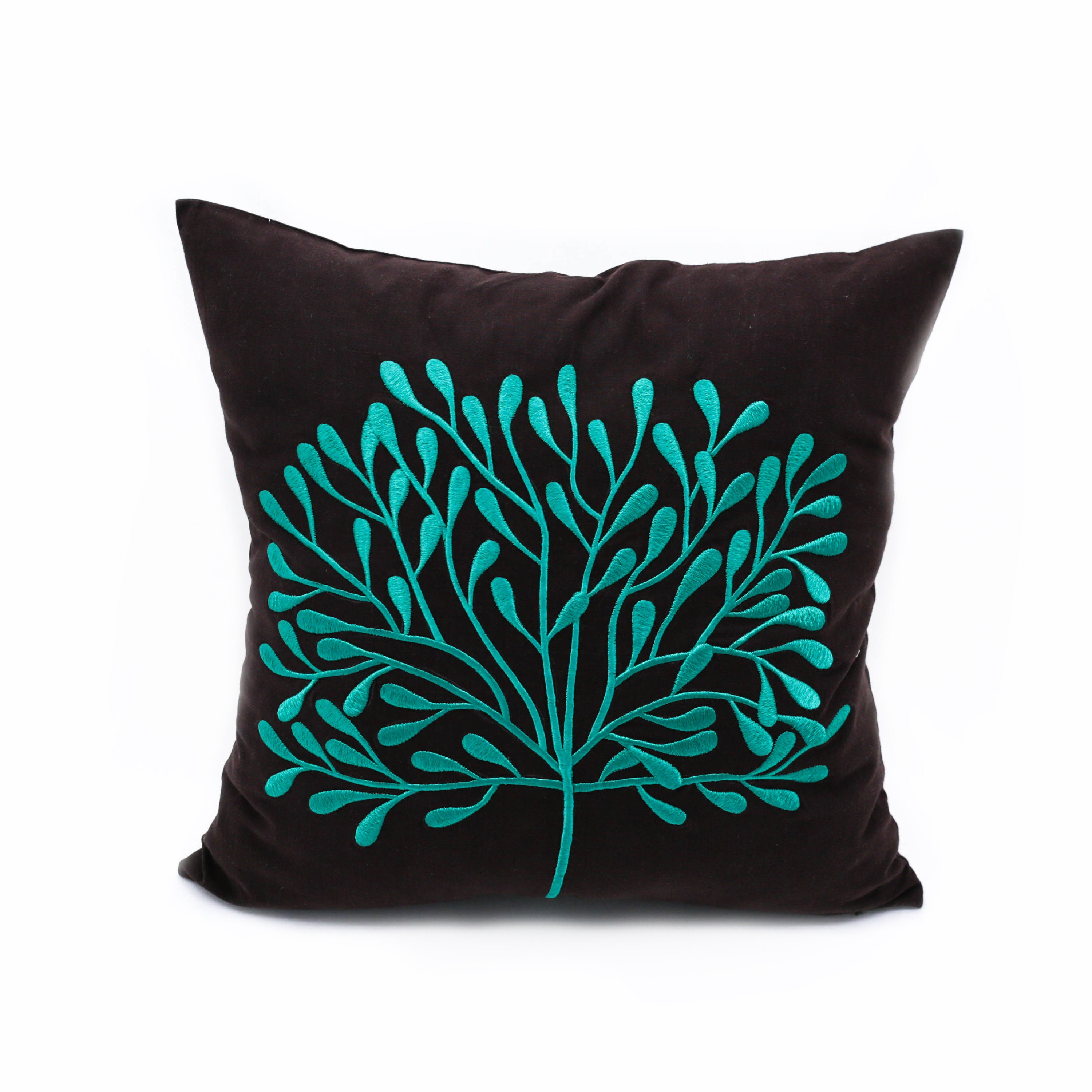 Teal Decorative Pillow Cover Home Decor Dark Brown Linen