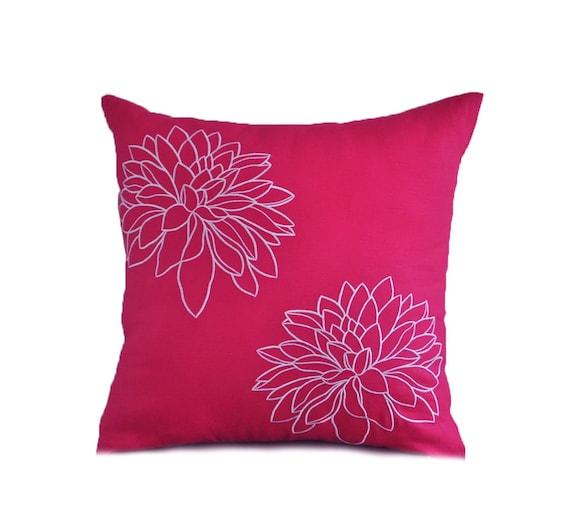 Fuchsia Pink Flower Pillow Case Fuchsia Pink Linen White Etsy