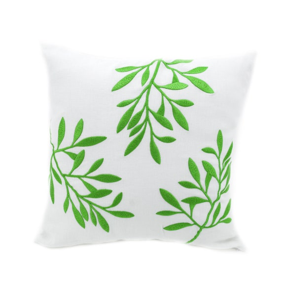 Leaf Pillow Cover Decorative Throw Pillow White Linen Etsy Best Etsy Decorative Throw Pillows