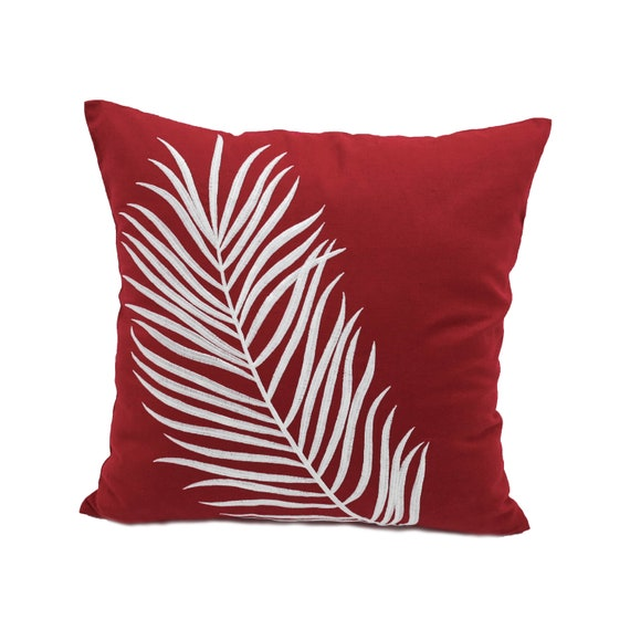 Astounding Red Decorative Pillow Palm Leaf Throw Pillow Red White Embroidered Pillow Case Leaves Couch Pillow Custom Throw Pillow Ocoug Best Dining Table And Chair Ideas Images Ocougorg