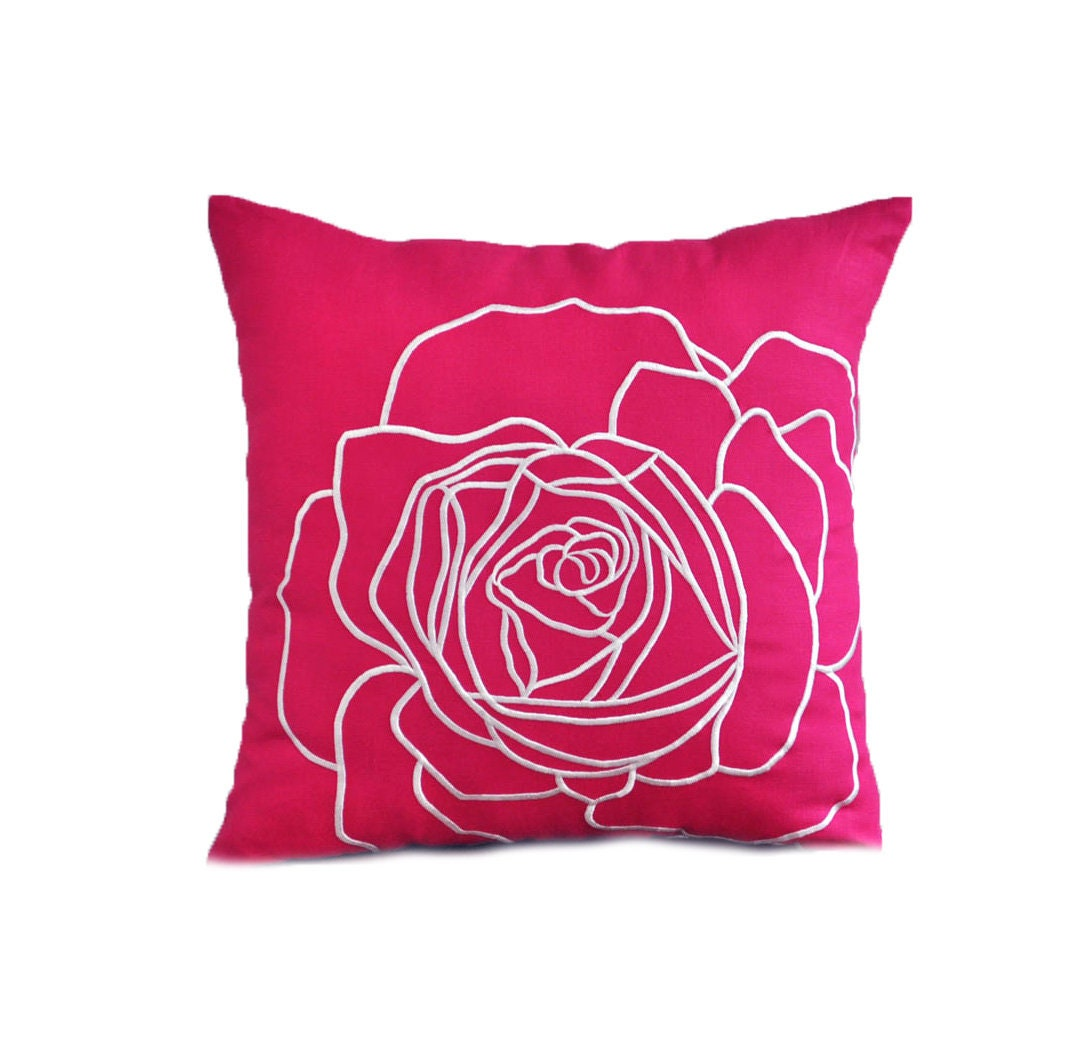 Fuchsia Pink Flower Pillow Cover Decorative Throw Pillow Etsy