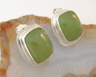 REDUCED PRICE! Vesuvianite and Sterling Silver Earrings - Post Earrings - Idocrase Earrings - Lime Green Stones - Rectangle Shape Earrings