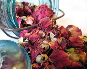 Red Rose Buds and Petals. dried red rose petals, herbal roses. Wedding Rose Toss.  half pound, 8 ounces