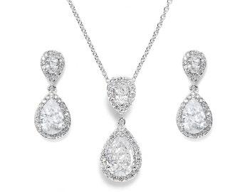 Bridal jewellery set wedding crystal teardrop silver jewellery set pendant necklace drop earrings vintage style bridal necklace