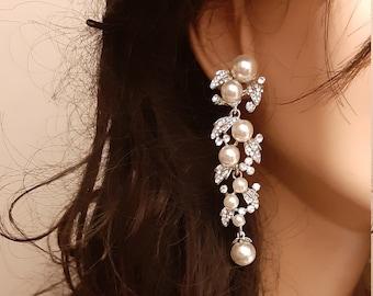 Pearl leaf cluster earrings bridal Vintage style LONG crystal drop wedding earrings silver tone wedding jewelry