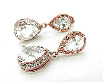 Rose gold crystal earrings bridal crystal tear drop wedding bridal earrings vintage style wedding bridal jewelry