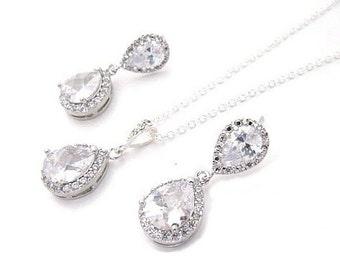 Bridal jewelry set crystal wedding teardrop silver jewellery set pendant necklace drop earrings vintage style bridal necklace