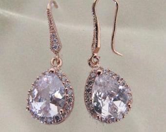 Rose gold bridal earrings crystal tear drop wedding bridal earrings vintage style rose gold wedding jewelry