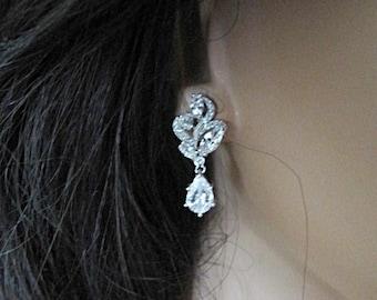 Art Deco wedding earrings 1930s 1940s Vintage style crystal swirl drop bridal earrings wedding jewellery