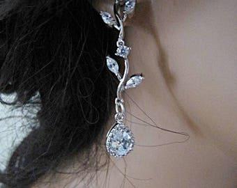 Crystal leaf wedding earrings bridal vintage inspired Art Deco 1920s/30s style crystal drop wedding earrings silver wedding jewelry