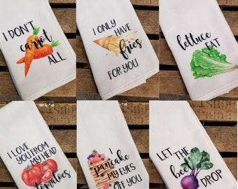 Funny pun kitchen dish towels Great housewarming, birthday or wedding shower gift.  Super absorbent hand towel