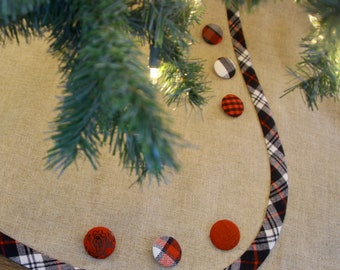 Extra Large LINEN Christmas Tree Skirt - A Tailored, Buttoned Beauty - Pick Your Banding and Buttons -- SHIPPING