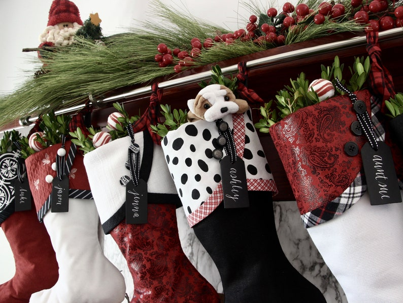 Black Red And White Christmas Stockings Reindeer Etsy
