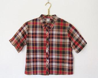 1960s Camp Shirt / Short Sleeved Plaid Cotton Button-down / Women's Vintage 60s Preppy Top