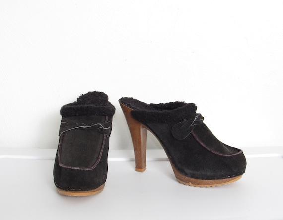 70s Platform Mules / Black Suede & Sherpa Lining R