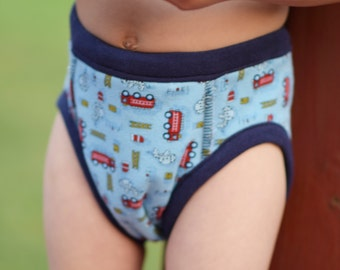 Kids hidden waterproof wet zone knit cloth potty training pants, briefs or trunk style, girl or boy/unisex, solid or print, per pair