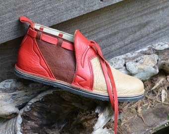 4dc42210 Leather Custom Handmade Shoes.Beige, Brown elk skin. lined with goat and  trimmed in red cowhide -
