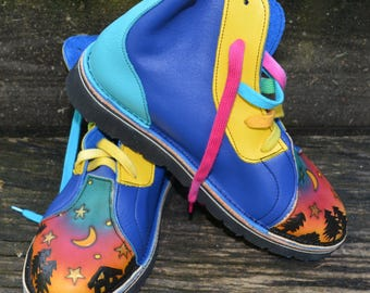 Handmade Custom Leather Hi Top Shoes. OUR HOUSE.  Honda blue, Turq,Yellow and Blue.  Sizes Ladies 5,6,7,8,9,10 or Custom fit