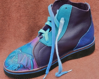 Handmade Custom Leather  hi-tops. DRAGON.  Painting Turq,Purple and Blue.  Available in stock sizes 5,6,7,8,9,10 or custom made to fit.