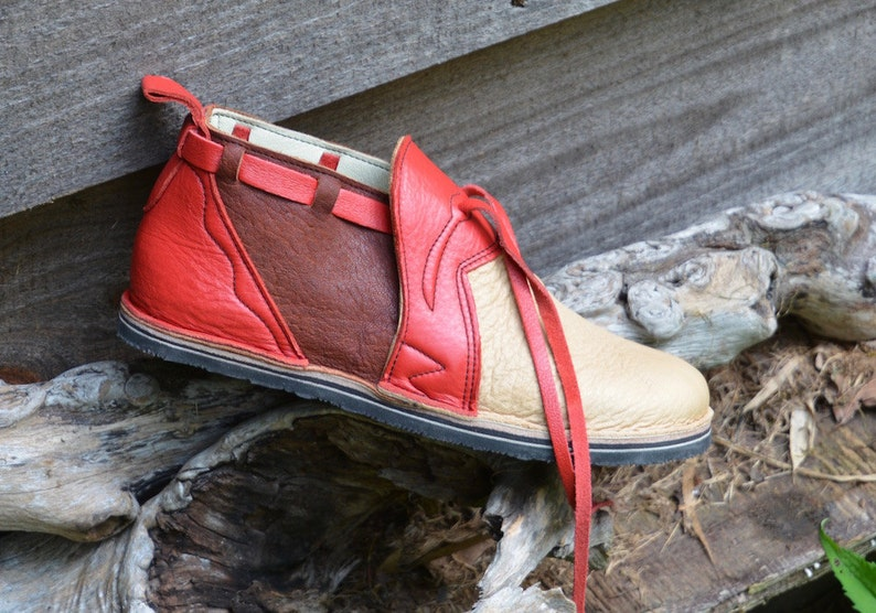 76e61557f183f Leather Custom Handmade Shoes.Beige, Brown elk skin. lined with goat and  trimmed in red cowhide -